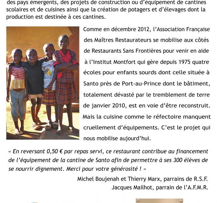 """Lancement de la campagne """"une cantine à Haïti"""" avec l'AFMR – Juin 2013"""