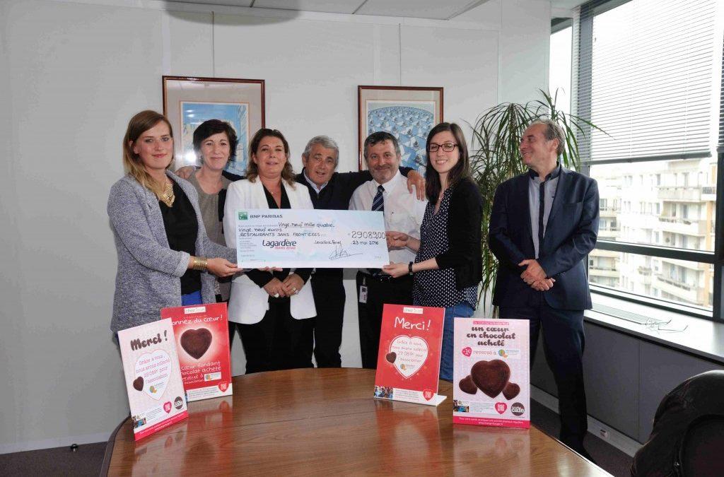 Remise du don collecté par Relais H Cafés et Chez Jean – Mai 2016